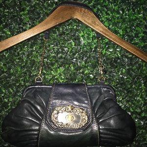 Kate Landry Vintage Style Black Leather Clutch